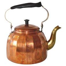 German Paneled Copper 3 Quart Tea Kettle