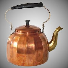 German Paneled Copper 3 Quart Tea Kettle