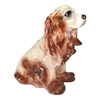 Chalkware Brown Cocker Spaniel Dog Large Bank Figure