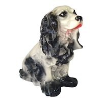 Chalkware Black Cocker Spaniel Dog Large Bank Figure