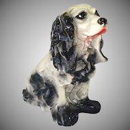 Chalkware Black Cocker Spaniel Dog Large Bank Figure