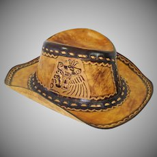 Tooled Leather South Western Style Outback Hat Unisex