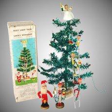 Santas Workshop 1960s Pixie Tinsel Tabletop Christmas Tree Set Boxed