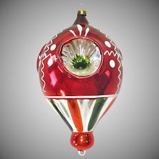 1950s Blown Glass Triple Indent Balloon Christmas Ornament