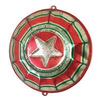 1930s USA Tin Litho Patriotic Bunting Star Metal Christmas Ornament