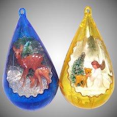 Jewel Brite Angel Fawn Scene Plastic Christmas Ornaments