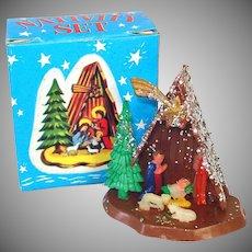 Miniature Hard Plastic Nativity Scene Christmas Ornament Mint in Box