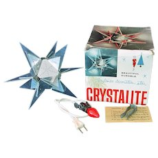 Eames Era Crystalite Star Lucite Lighted Christmas Tree Topper In Box