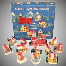 Italian Cardboard Christmas Putz Village Set In Box