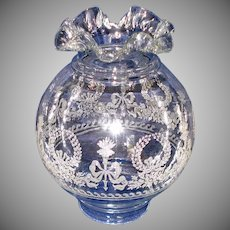 French Glass Torch Wreath Ruffled Ball Lamp Shade 4 In Fitter