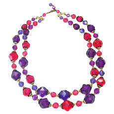 Magenta Purple 2 Strand Faceted Necklace West Germany