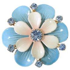 Enamel Rhinestones Double Layer Blue Flower Brooch Pin