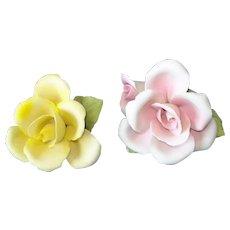 Pair Capodimonte Napoleon Porcelain Roses