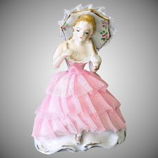 Porcelain Lady With Parasol Stiffened Lace Figurine