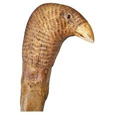 Antique Wood Cane Walking Stick Carved Bird Handle Glass Eyes