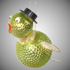 Glass Cardboard Whimsy Bird Christmas Ornament Googly Eyes