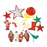 Lot 1950s American Made Hard Plastic Christmas Ornaments