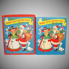 953 Christmas Pop Up Santa Mother Goose Book In Box With Toys