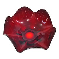 Viking Epic Ruby Art Glass Six Petal Bowl