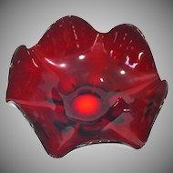 Viking Epic Ruby Art Glass Six Petal Bowl