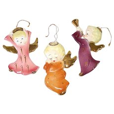 1950s Yona Angels Porcelain Christmas Ornaments Wall Hangers