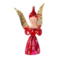 Italy Blown Glass Pink Angel Christmas Ornament