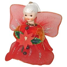 Red Tulle Christmas Angel Tree Top Figure Porcelain Head