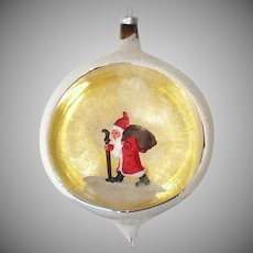 Italy Belsnickle Santa Large Diorama Indent Glass Christmas Ornament