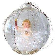 German Spun Glass Angel Dome Scene Christmas Ornament
