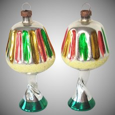 Pair 1950s Blown Glass Lamp Figural Christmas Ornaments