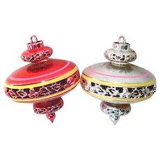 Bradford 1950s Plastic UFO Space Age Christmas Ornaments