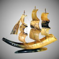 Vintage Carved Cow Horn Clipper Ship