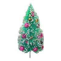 Flat Back 7 Inch Decorated Christmas Bottle Brush Tree