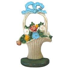 Cast Iron Flower Basket Door Stop John Wright