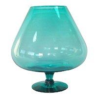 Aqua Mid Century Art Glass Snifter Vase