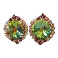Rivoli Rhinestone Olivine Green Clip Earrings