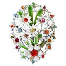 Flowered Rhinestone White Enamel Easter Egg Brooch Pin