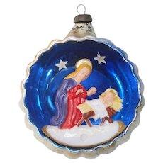 Italy Madonna Child Nativity Diorama Indent Christmas Ornament