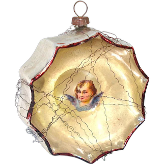 German Mercury Glass Angel Bubble Indent Christmas Ornament