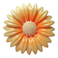 Peach Colored Daisy Flower Enameled Brooch Pin 1960s