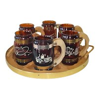 Siesta Ware Western Cowboy Mug Set With Wagon Wheel Tray