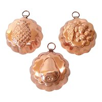 Copper Miniature Candy or Tart Molds, Set of 3