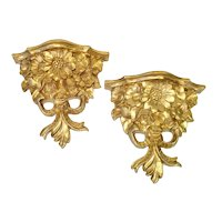 Italian Floral Gold Gilt Corbel Style Wall Shelves
