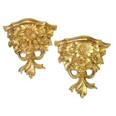 Italian Floral Gold Gilt Corbel Style Wall Shelves