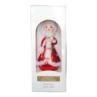 Lady in Red Blown Glass 7 Inch Christmas Ornament In Box