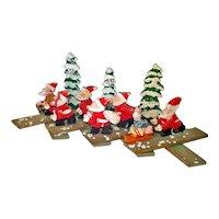 1950s Wooden Christmas Expansion Ornament Santas