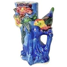 Bird on Flowered Tree Stump Pottery Vase Planter