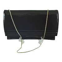 Ande Black Patent Envelope Clutch Shoulder Chain Handle