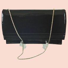 Ande Black Patent Envelope Clutch Shoulder Chain Handle
