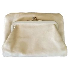 Deerskin Leather Foldover Clutch With Attached Coin Purse